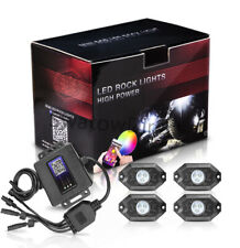 RGB LED Rock Lights Lamp Off-road Wireless Bluetooth Music Chasing Cree 4-Pods