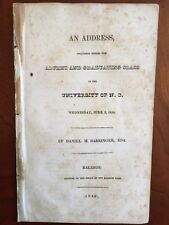 RARE 1840 University North Carolina Alumni Graduation Address, Daniel Barringer
