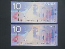 CANADA 2005 -$10-  2 NOTES SAME NUMBER ( DIFF PREFIX ) -RARE -GEM UNC