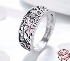 925 Sterling Silver Daisy Flower Infinity Ring Size N/7 Pink Enamel Diamond Set