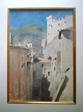 """G. SCOTT:grande gouache """"Roquebrune"""" 43x30cm, 1920, signée, datée et située"""