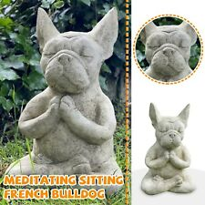 Cute French Meditating Sitting Bull Dog Statue Sculpture Outdoor Garden Ornament