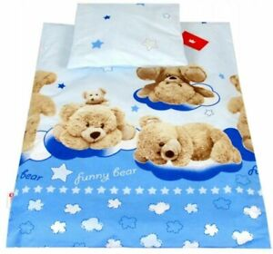 Bedding Set For Baby Stroller Crib Cot Bed Duvet Cover Pillowcase Teddy Bear Blu