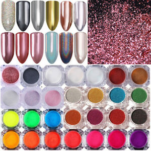 BORN PRETTY Nail Glitter Powder Holographicss Mirror Neon Nail Art Pigment Dust