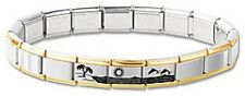 Italian Charm Bracelet Stainless Steel Gold Dolphins Hawaii Modular 3 Free Links