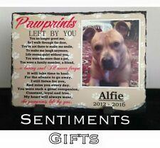 Pawprints Pet Memorial Slate, Personalised Photo Poem Dog