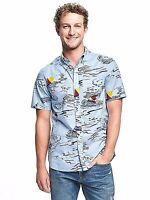 Old Navy XLT Slim Fit BLUE Nautical Short Sleeve Fit Summer Shirt $36.50 NWT