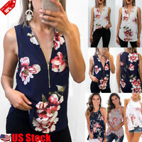 US Womens Summer Boho Floral Tank Tops Casual Loose Sleeveless T-Shirt Vest Tops