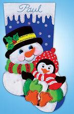 Felt Embroidery Kit ~ Design Works Snowman & Penguin Christmas Stocking #DW5236