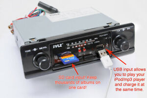 Pyle PLR14MPF 2 Knob USB / SD AM-FM 2 Shaft Shafted Style Classic Car Stereo