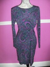 BNWOT NEW M & S PER UNA stretch jersey paisley dress 8 look perfect.long sleeves