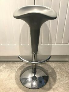 Fantastic Solid Grey And Silver Adjustable Bar Stool With Foot rest