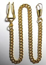 """POCKET WATCH OR KNIFE GOLD TONE BELT FOB CHAIN 15"""" LONG"""