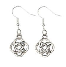 925 Sterling Silver Hooks Vintage Silver Alloy Dangle Irish Celtic Knot Earrings