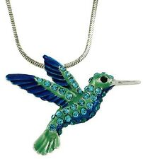 "Beautiful Bird Hummingbird Pendant Necklace 24"" Chain & a Gift Box Fast Shipping"