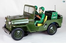 Japanese 1950 Vintage Green Jeep No. 1 Army Toy Car with 2 Soldier Passengers