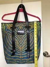 PROENZA SCHOULER-Tote Style silk brocade, shoulder Leather Strap Bag Size 15x15.