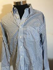 Brooks Brothers Mens 16-34 Large Blue&White Striped Non Iron Cotton  Shirt A4