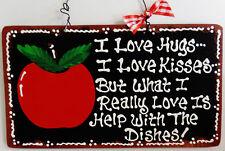 Black Sign APPLE Hugs Kisses Dishes Kitchen Plaque Wall Fruit Decorative Decor