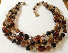 VINTAGE REGENCY  SIGNED 3 STRAND TOPAZ GIVRE AND SWIRLED GLASS BEAD NECKLACE