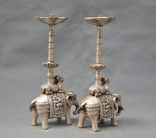 10'' China Silver Bronze pair elephant candle stick Bronze Statue