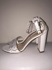 NEW JCREW LEATHER EYELET HIGH-HEEL SANDALS 8 SHOES f1317 $268 WHITE NEW