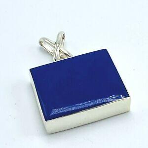 Sterling Silver Blue Lapis Square Pendant 925