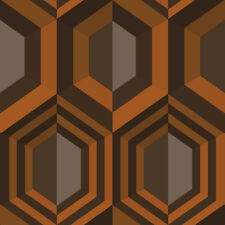 Muriva Hexagon Retro 70s Wallpaper - Orange J40705
