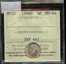 1940C Newfoundland Five Cents - ICCS MS-64 - RARE condition