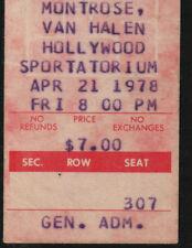 Van Halen -Journey-Montrose -4-21-78-Hollywood, Florida concert ticket stub 1978
