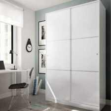 Armario 2 Puertas Correderas Armario Ropero 120x200 cm con Estantes Dormitorio