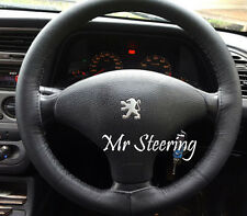FITS PEUGEOT 307 REAL BLACK ITALIAN LEATHER STEERING WHEEL COVER 01-08