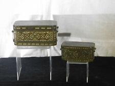 Pair Antique c1850-1875 Bronze Silver Inlaid Betel Nut Boxs