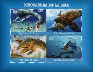 Chad 2018 MNH Aquatic Water Dinosaurs 4v M/S Stamps