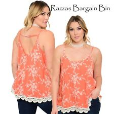 New Ladies Orange Floral Top Plus Size 16/1XL (1044)OH