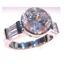 Bezel Set Round Cut Signity Cz Cubic Zirconia Engagement Wedding Silver Ring 8