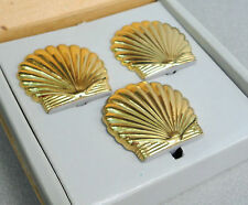 PartyLite Seacrest Set Gold Scallop Seashell Hurricane Shade Stand 3 pc Orig Box