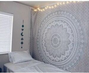 Twin Ombre Indian Tapestry Mandala Silver Cotton Wallhanging Hippie Tapestries