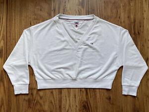 Tommy Hilfiger Sweatshirt Women's Small White Cropped