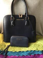 Handbag Adrienne Vittadini Navy Faux Leather Zip Dome Satchel & Phone Wristlet