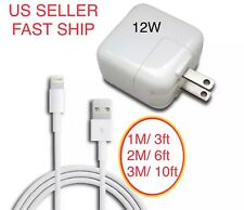 12W USB Power Adapter Charger for Apple 8 7 X iPad 2 3 4 Air & 1M 2M 3M Cable