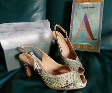 New Platino Reptile Leather sling back heels!sz C38.5 (7.5 Aus)