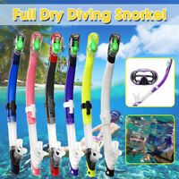 Professional Adult Swimming Diving Dry Snorkel Tube Snorkels Silicone Breathing