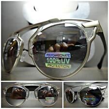 CLASSIC VINTAGE 70s RETRO Style SUN GLASSES Transparent Frame Chrome Mirror Lens