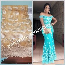Gold Nigerian african french lace fabric for party dress. Guipure border