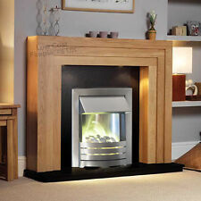 ELECTRIC OAK WOOD SURROUND SILVER GRANITE PEBBLE FIRE FIREPLACE SUITE LIGHTS 48""
