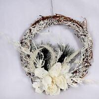 KRAFTZ® Christmas Decoration Wreath Natural Wood Garland White Foam Hanging