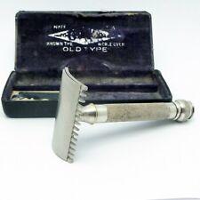 Vintage 1921 Gillette Pocket Edition Old Type Silverplate 3 Piece Safety Razor