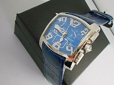 New Chronotech Men's Chronograph Blue Leather Date Watch and Box