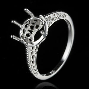 Vintage Antique 9mm Round Shape Sterling Silver Semi Mount Empty Ring Setting